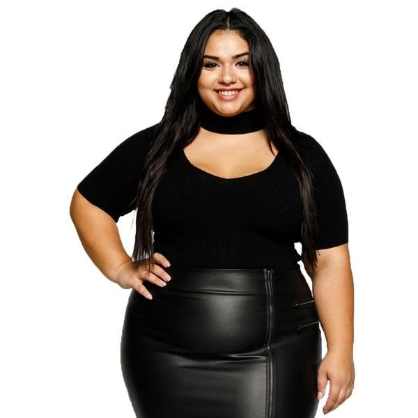 7f4b711da48 Shop Xehar Womens Plus Size Sexy V-Neck Cut Out Choker Bodysuit Top ...