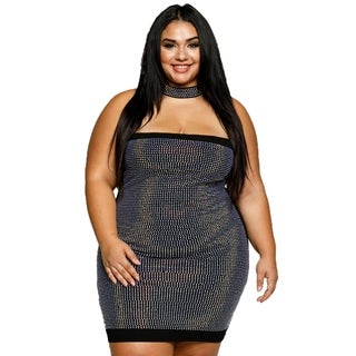 Xehar Womens Plus Size Sexy Tube Rhinestone Choker Mini Bodycon Dress