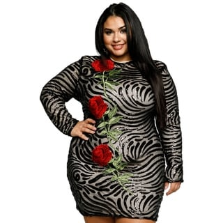 0d7a06816c21f Shop Xehar Womens Plus Size Sexy Floral Sequin Short Bodycon Dress - Free  Shipping Today - Overstock - 18512513