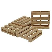 4 Pack Wooden Pallet Bar Coasters In Wooden Finish