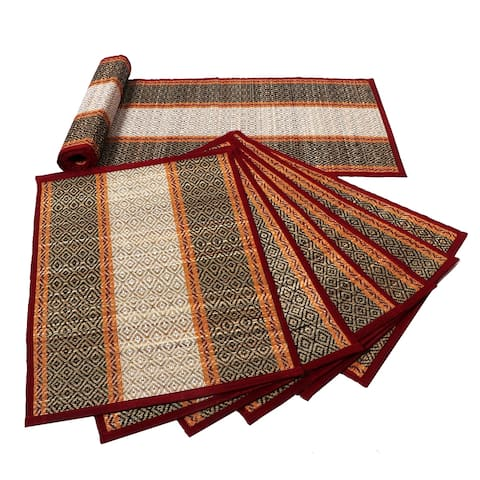 7 Piece Handmade Sabai Grass Table Runner and Placemats, Multicolor
