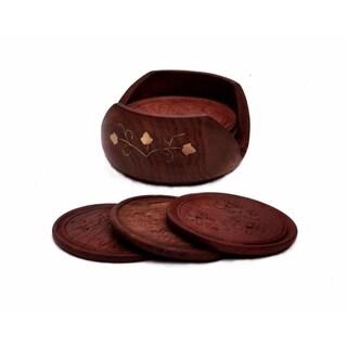 Drink Coasters - Rosewood Retro Wood Coaster, Set Of 6