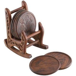 Handmade Wooden Set Of 6 Coasters With Rocking Chair Holder, Brown