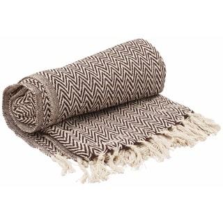 Throw Blanket Dark Rich Brown & White Reversible with Tassels