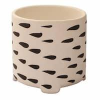 Planter Pot - Handmade Ceramic Herb Planter Black & White Small Herb