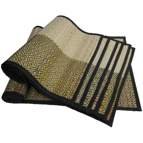 7 Piece Sabai Grass Table Runner and Placemats with Woven Pattern, Multicolor