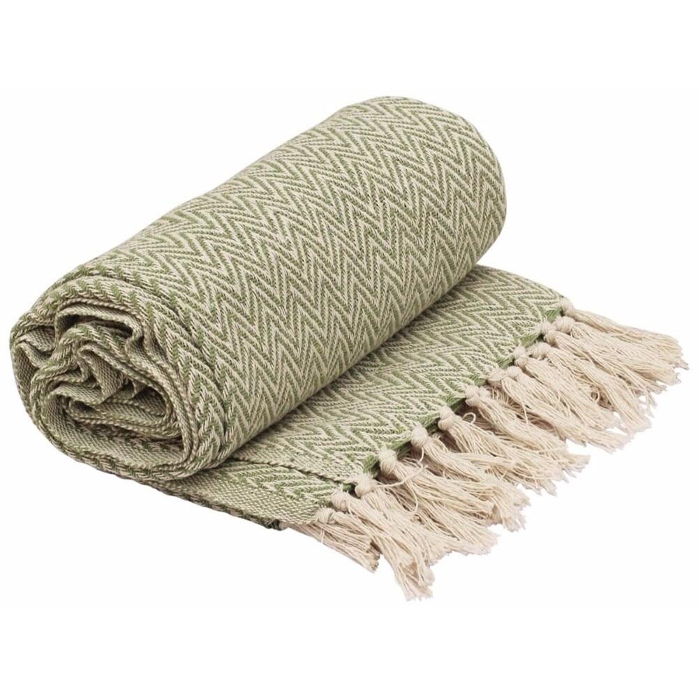 Throw Blanket Lime Green White