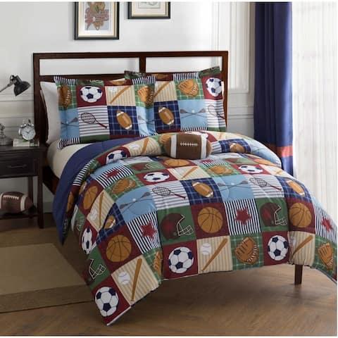 Team Sport Collegiate 4-Piece Comforter Set Featuring Football Shaped Decorative Pillow