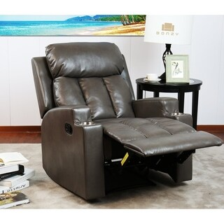 Bonzy Theater Recliner w/Cup Holders - Faux Leather Upholstery - Grey