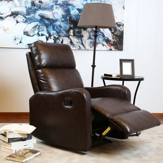Bonzy Contemporary Recliner - Faux Leather Upholstery - Chocolate