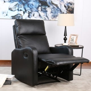 Bonzy Contemporary Recliner - Faux Leather Upholstery - Black