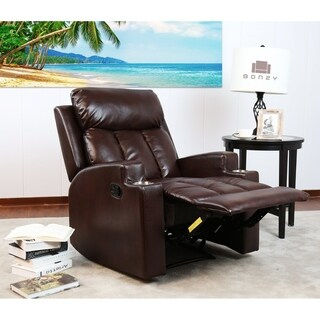Bonzy Theater Recliner w/Cup Holders - Faux Leather Upholstery - Brown