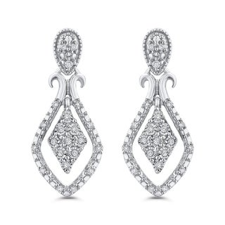 10K White Gold 1/10ct TDW Diamond Drop Earrings (G-H, I2-I3)