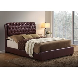 Global Furniture Burgundy Faux Leather King Tufted Bed