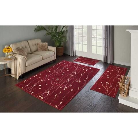 Nourison Grafix 3-Piece Red Area Rug Set - 5' x 7'/2' x 3'
