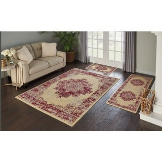 Nourison Grafix 3-Piece Cream/Red Area Rug Set