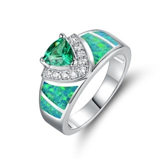 White Gold Plated Emerald Fire Opal & Emerald CZ Trillion-Cut Ring - N/A