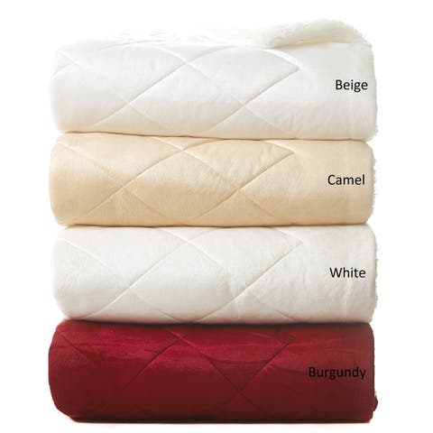 Reversible Sherpa Micromink Oversized Quilted Throw Blanket