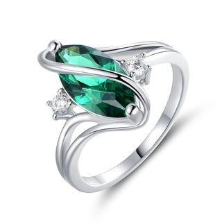 Rhodium Plated Green Quartz & Cubic Zirconia S Ring