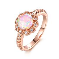 Rose Gold Plated Fire Opal & Cubic Zirconia Flower Ring