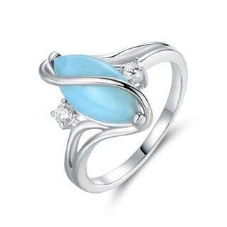 Rhodium Plated Genuine Larimar Cubic Zirconia S Ring