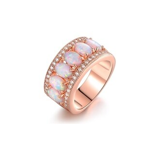 Rose Gold & Fire Opal Oval-Cut Band Ring - N/A