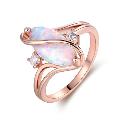 Rose Gold Plated White Fire Opal & Cubic Zirconia Accents Ring