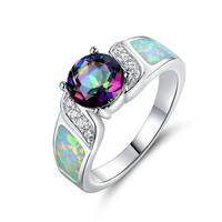 White Gold Plated Rainboiw Quartz Fire Opal Ring