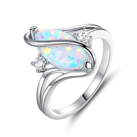 White Gold Plated Fire Opal & Cubic Zirconia Accent S Ring