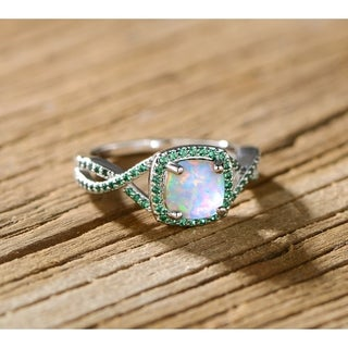 Rhodium Plated White Fire Opal & Lab-Created Emerald Twist Ring