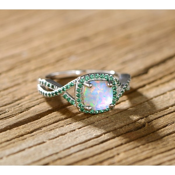 a8045d3e9fa5 Shop Rhodium Plated White Fire Opal   Lab-Created Emerald Twist Ring - On  Sale - Free Shipping On Orders Over  45 - Overstock - 18513861
