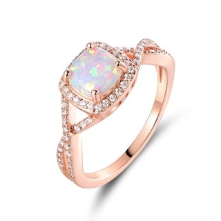 Rose Gold Plated White Fire Opal Ring - N/A