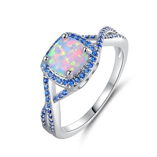 White Gold Plated Fire Opal Sapphire Twist Ring