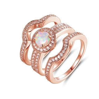 Rose Gold Plated Blue Jelly Opal & Cubic Zirconia 3pcs Ring Set - N/A
