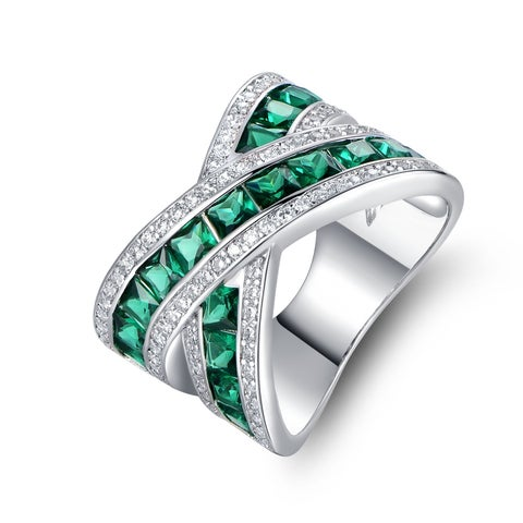 White Gold Plated Green Colored Quartz Crisscross Ring