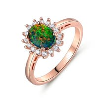 Rose Gold Plated Black Opal & Cubic Zirconia Flower Engagement Ring