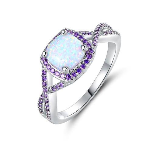 White Gold Plated White Fire Opal & Purple Cubic Zirconia Ring