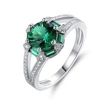 White Rhodium Plated Green Quartz Engagement Ring - N/A