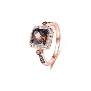Smoke Topaz Quartz & Morganite Quartz Halo Cushion-Cut Ring