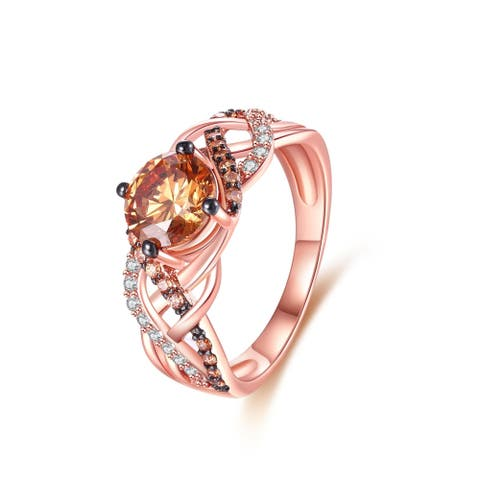 Rose Gold Champagne Cubic Zirconia Round-Cut Ring