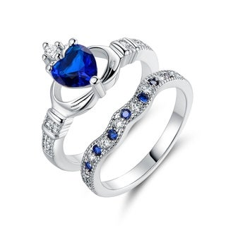 Lab-Created Sapphire Quartz Claddagh Ring Set