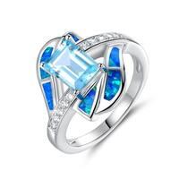 Rhodium Plated Blue Quartz & Blue Jelly Opal Statement Ring