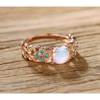 Rose Gold Plated Amethyst Quartz & Emerald Flower Ring