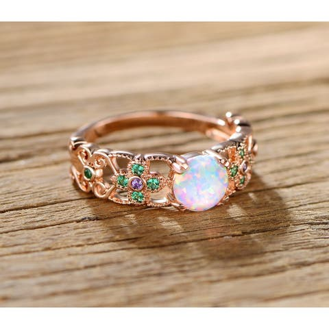 Rose Gold Plated Fire Opal Purple and Green Quartz Flower Ring