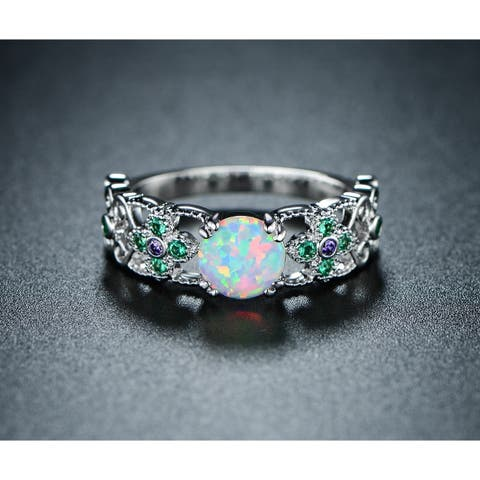 Rhodium Plated Fire Opal Green and Purple Quartz Ring