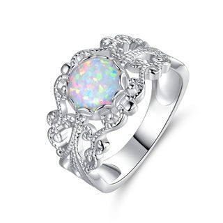 White Gold Plated Lab Created Opal Ring
