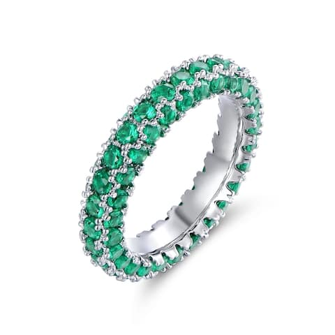 White Gold and Italian-Cut Emerald Cubic Zirconia 3 Row Eternity Ring - Green