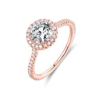 Rose Tone & Cubic Zirconia Halo-Cut Engagement Ring