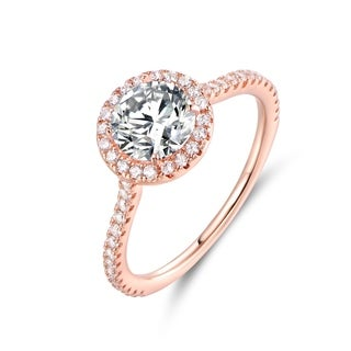 Rose Tone & CZ Halo-Cut Engagement Ring - White