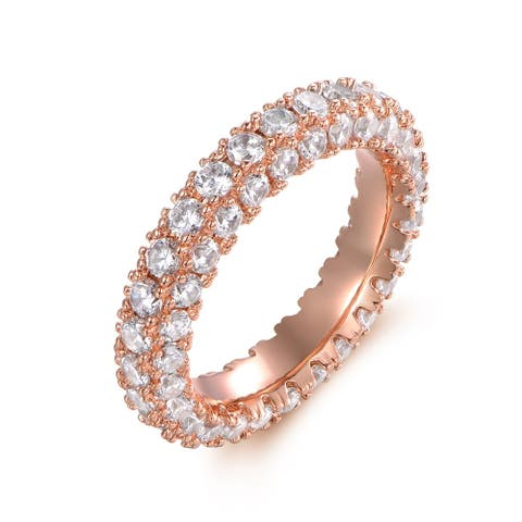 Rose Gold and Italian-Cut Cubic Zirconia 3 Row Eternity Ring